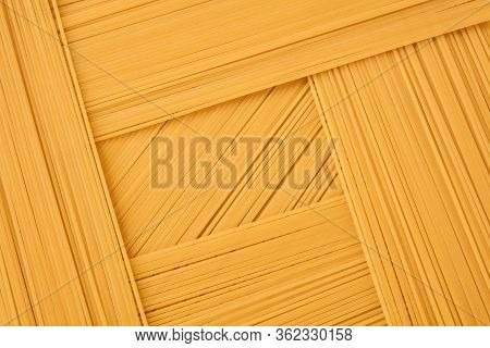 Background Of Long And Short-cut Dry Pasta, Spaghetti Laid Out In Several Layers
