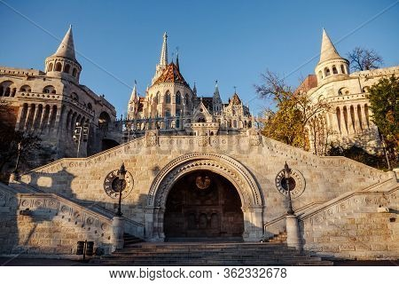 View Of The Fishermans Bastion From The Bottom Up. Stairs Leading To The Bastion
