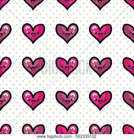 Cute Hearts With Kawaii Face Seamless Vector Pattern. Hand Drawn Romantic Symbol Kawaii Illustration