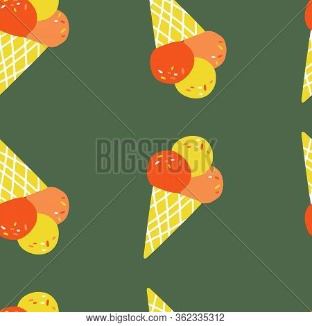 Fun Hand Ice Cream Seamless Pattern On Green Background. Flat Vector Illustration For Textile, Cloth