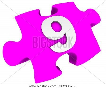 The Number Is Nine. Puzzle Element. The White Number 9 (nine) On One Pink Puzzle Element. Isolated.
