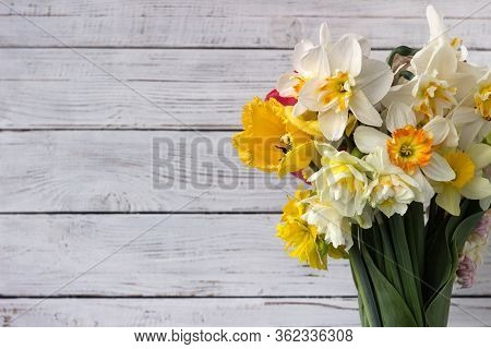 Bouquet Of Beautiful Daffodils Of Different Types And Tulips, Background. Spring Flowers, Terry And