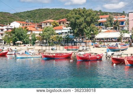 Fishing Boats In The Village Of Uranopolis On Mount Athos. Greece, Halkidiki