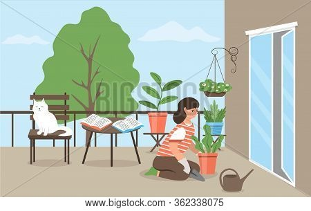 A Cute Girl Taking Care Of Indoor Or Garden Plants On The Balcony. A Young Woman Cultivates Potted P