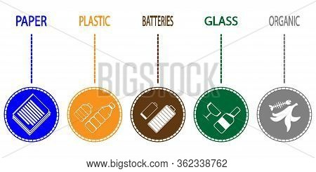 Set Of Sorted Garbage. Different Types Of Garbage: Organic, Plastic, Paper, Glass, E-waste. Trash So