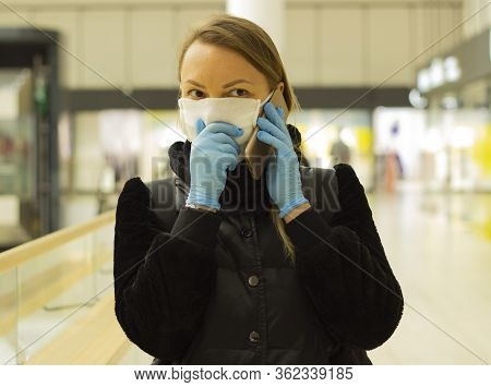 Woman Wearing Face Mask Protect Filter Against Air Pollution Or Wear Mask. Protect Pollution, Anti S