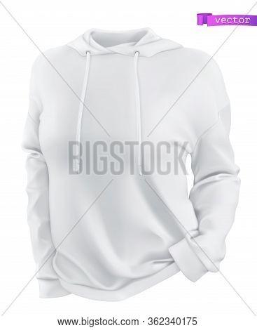 Hoodie, White Sweatshirt Mockup. 3d Realistic Vector