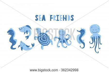 Vector Handdrawn Cute Illustration Set Of Moray, Fishes, Turtle, Octopus, Seahorse And Jellyfish. Co