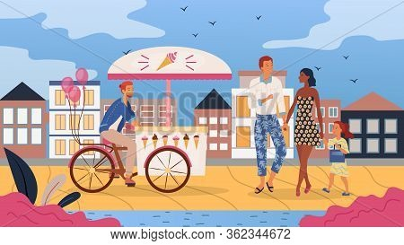 Concept Of Street Food. Young Boy Sale Ice From Mobile Ice Cream Cart With Many Ice Cream Types And
