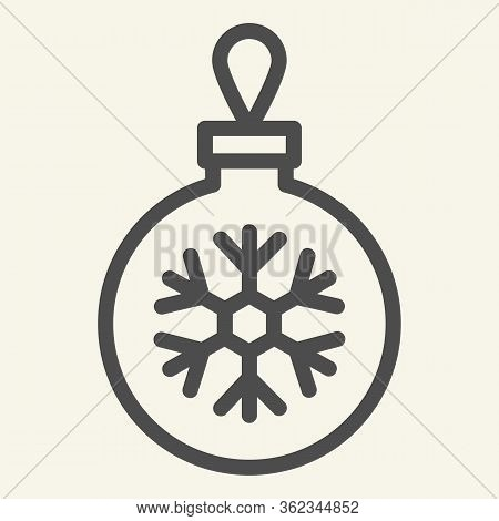 Christmas Ball Line Icon. Glass Tree Toy With Snowflake Outline Style Pictogram On White Background.