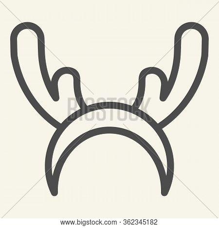 Deer Horns Cloth Line Icon. Reindeer Mask Outline Style Pictogram On White Background. Funny Christm