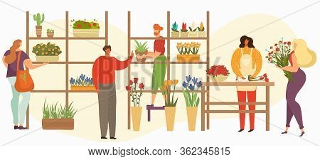 Flower Shop Sale, Florist Or Female Salesperson With Bouquets, Houseplants And Customers Buying Flow