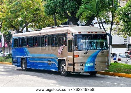 Acapulco, Mexico - May 28, 2017: Interurban Coach Bus Dina Avante In The City Street.