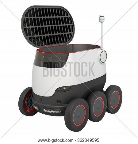 Autonomous Delivery Robot. 3d Rendering Isolated On White Background
