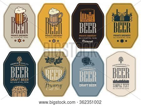 Set Of Vector Labels For Beer And Brewery In Figured Frames In Retro Style. Labels With Overflowing