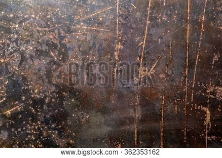 Rusted Black Flat Raw Steel Sheet Surface Texture And Background With Scratches