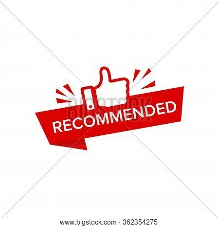 Red Vector Illustration Banner Recommended With Thumbs Up Eps10