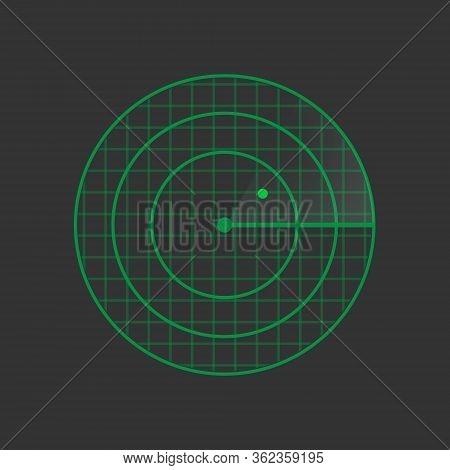 Hud Radar Display. Vector Green Radar Screen. Military Search System. Vector Illustration. Eps10