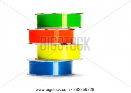 Colored monofilament fishing line isolated on white