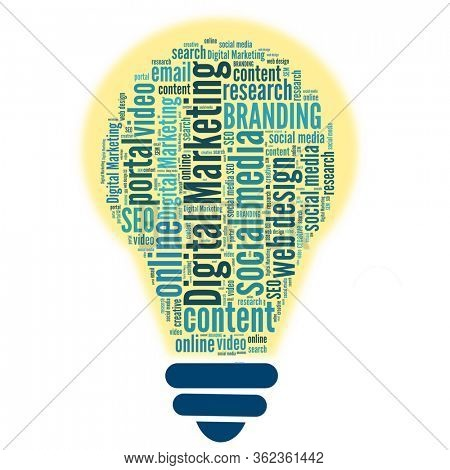 Digital Marketing in bulb shape word collage