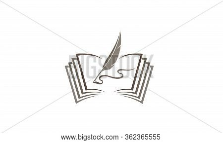 Qill Writing In The Papers On An Open Book Feder Buch For Logo Design Illustration On White Backgrou