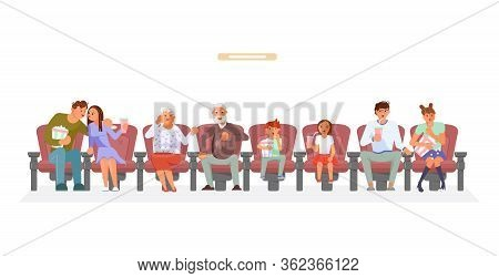 Movie Viewers In 3d Glasses Sitting In Cinema And Watch Movie. Couple Of Seniors With Grandchildren,