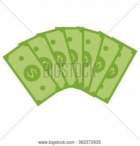Stack Of Dollars Icon On White Background. Flat Style. Stack Of Money Icon For Your Web Site Design,