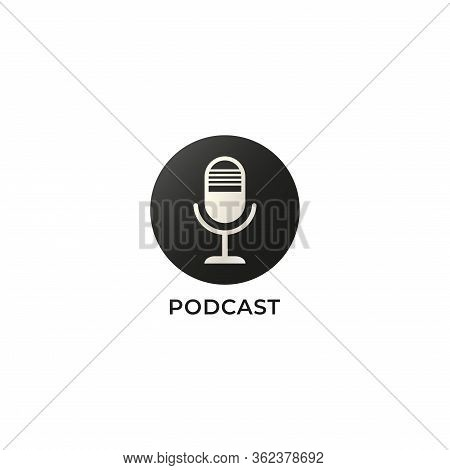 Black & White Podcast Logo Isolated On White Background. Condenser Microphone Illustration.  Pictori