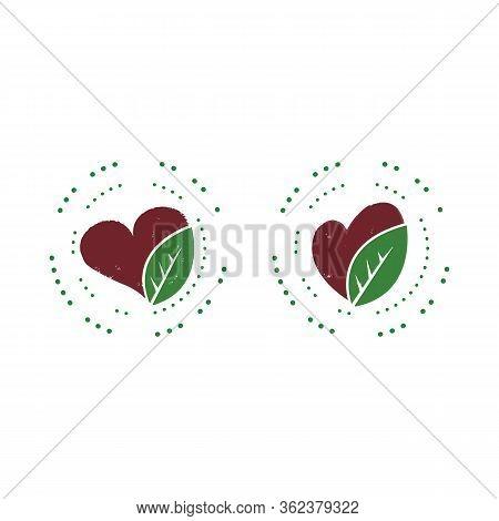 Leaf And Heart Logo Template Illustration Design. Vector Eps 10.
