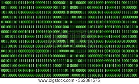 Illustration Of Binary Encoding Green Light Glowing With Digits Background Screen.digital Hacker Cyb