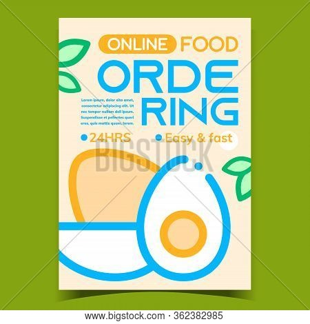 Online Ordering Food Advertising Banner Vector. Boiled Eggs And Green Leaves On Promotional Creative