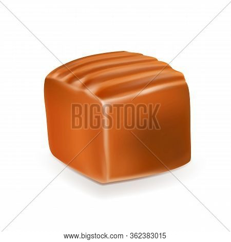 Caramel Toffee Candy Delicious Chewy Fudge Vector. Sticky Pastry Toffee Golden Butterscotch Dessert.