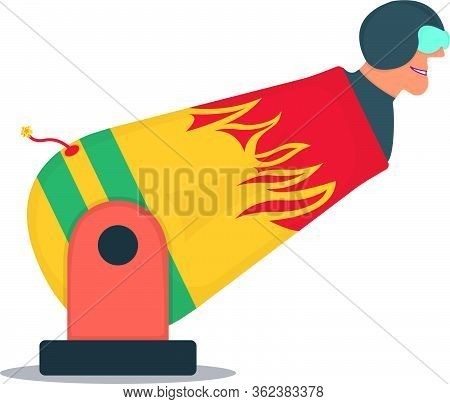 Character Gun Male Circus, Cannon With Human Cannonball Icon Isolated On White, Flat Vector Illustra