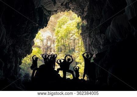 Silhouette Of Traveler In Nang Aen Cave At Lam Khlong Ngu National Park, Kanchanaburi Unseen In Thai