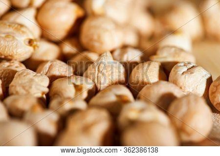 Close Up Hummus Background, Hummus Seeds. Macro Shot. Healthy Eating Concept.