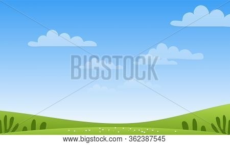 Sunny Spring Or Summer Landscape, Meadows, Sky With Clouds, Place For Text. Green Farm Banner, Conce