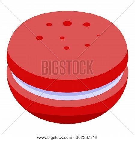 Red French Macaron Icon. Isometric Of Red French Macaron Vector Icon For Web Design Isolated On Whit