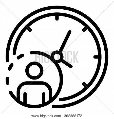 Headhunter Time Clock Icon. Outline Headhunter Time Clock Vector Icon For Web Design Isolated On Whi