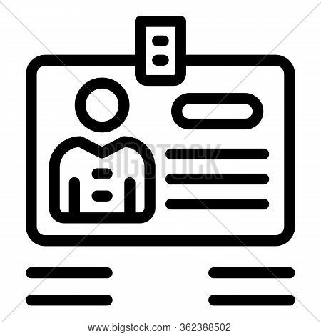 Id Recruiter Card Icon. Outline Id Recruiter Card Vector Icon For Web Design Isolated On White Backg