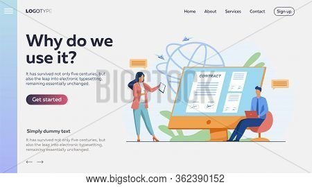 Business People Signing Online Contract With Electronic Sign Vector Illustration. Managers Reaching