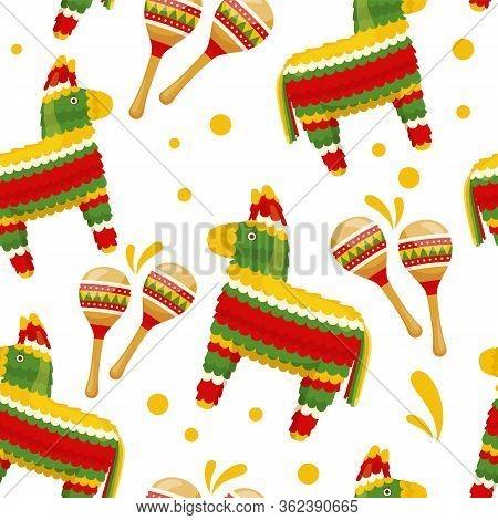 Seamless Pattern Of Mexican Traditional Festive Paper Toy Donkey Pinata And Maracas. Vector