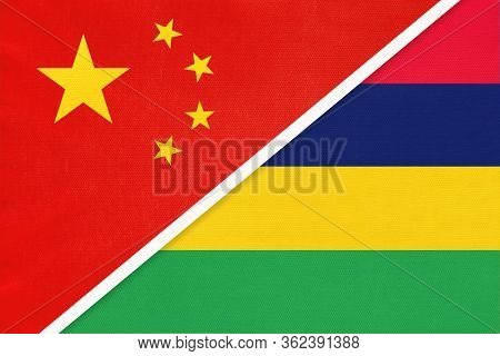 China Or Prc Vs Mauritius National Flag From Textile. Relationship Between Asian And African Countri