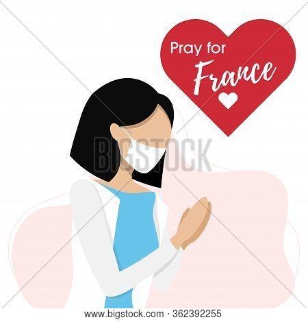 Epidemic Corona Virus, Covid-19 Or Coronavirus Concept. Woman Prayed For Italian. Vector Illustratio