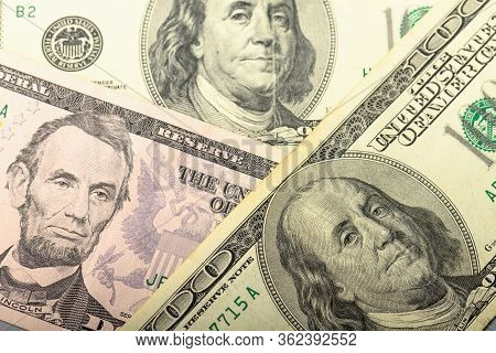 Cash Banknotes Dollars Background. Background With Money Banknote. Money Dollars Is The Top View.