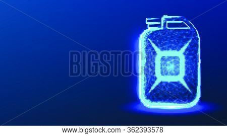 Jerrycan. Abstract Low Poly Wireframe Mesh Design. Vector Illustration