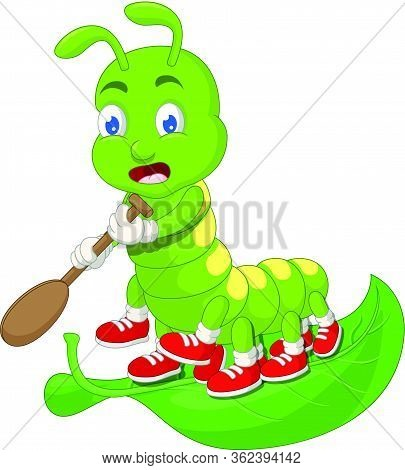 Green Caterpillar Paddling On Green Leaf Cartoon Vector Illustration