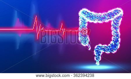 Colon, Intestine, Digestive System,. Point Of Disease. Health And Medical Concept. Surgeon Technolog