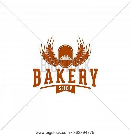 Croissant Bakery, Baguette, Bread, Vintage Bakery Logo Ideas. Inspiration Logo Design. Template Vect
