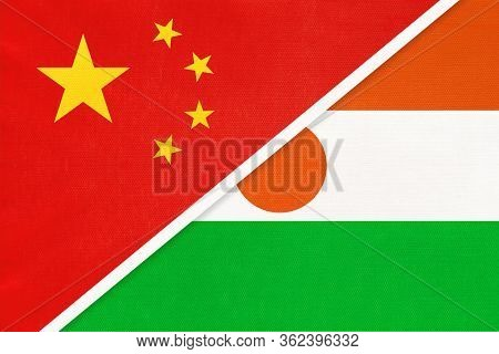 China Or Prc Vs Niger National Flag From Textile. Relationship Between Asian And African Countries.