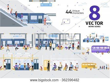 City Public Transport, Subway Passengers Transportation Trendy Flat Vector Scenes Set. Metro Passeng